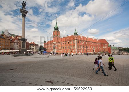 WARSAW, POLAND - AUGUST 13: View of Sigmund's Column and Royal Castle on August 13, 2013 in Warsaw,