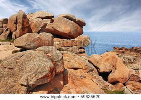 Ploumanach Pink granite coast Perros Guirec Brittany France poster