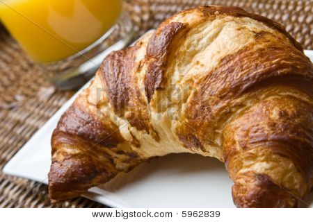 Fresh Croissant With Orange Juice