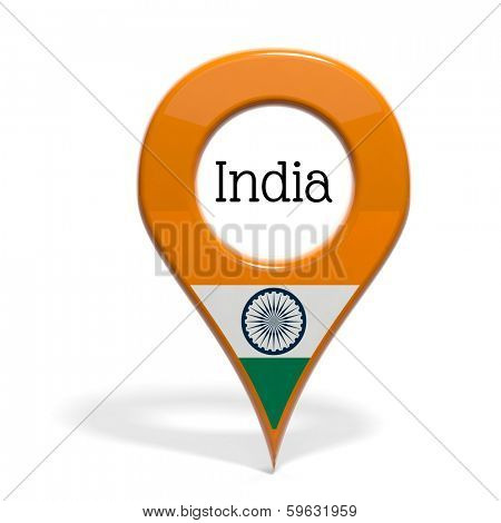 3D pinpoint with flag of India isolated on white