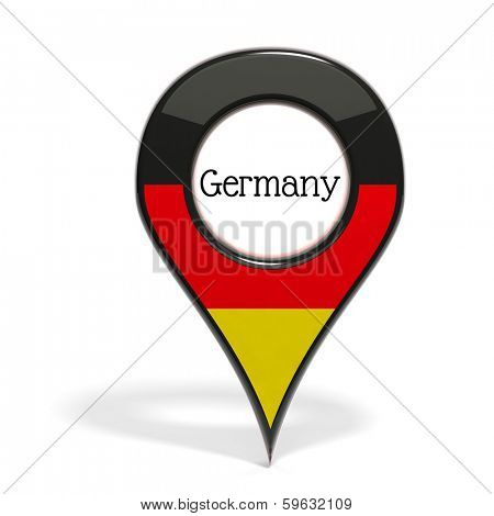 3D pinpoint with flag of Germany isolated on white