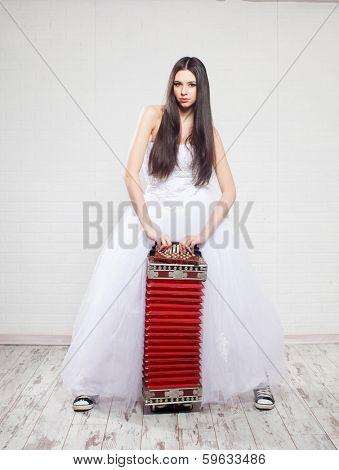 Runaway Bride with Russian accordion. Bride sneakers. Wedding