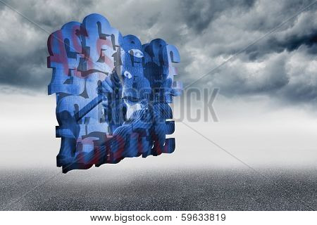 Burglar on abstract screen against cloudy landscape background