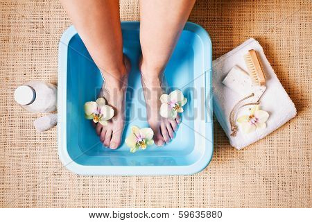 woman taking a Foot Bath