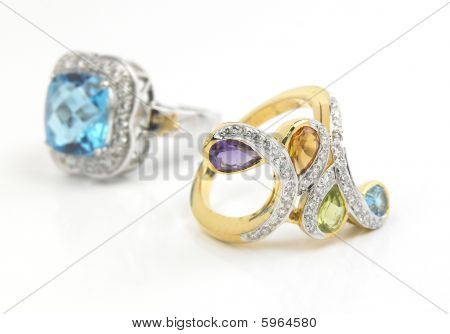 gems finger rings on white background