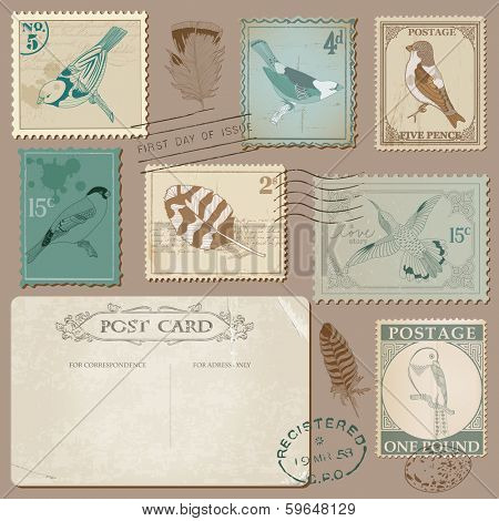 Vintage Postcard and Postage Stamps with Birds - for wedding design, invitation, scrapbook