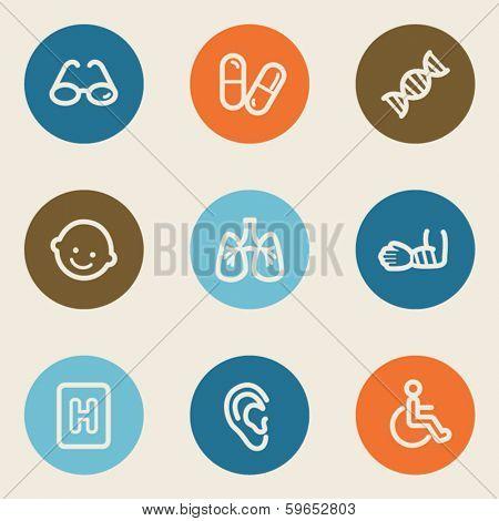 Medicine web icon set 2 , color circle buttons