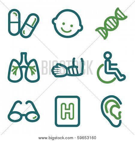 Medicine web icons, green line set