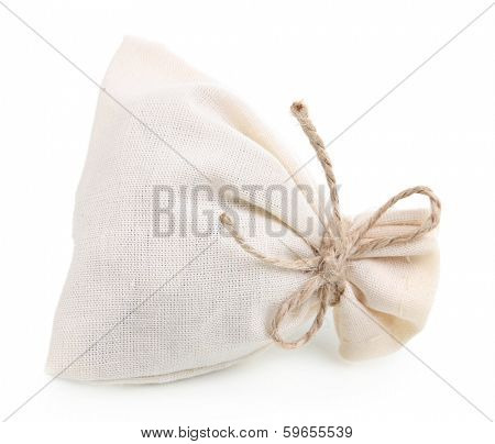 Textile sachet pouch isolated on white poster