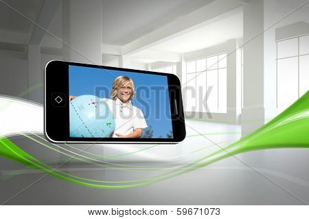 Blonde happy boy on smartphone screen against abstract white and green line design in room poster