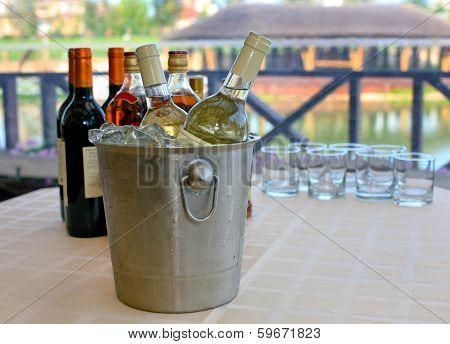 Wine Brandy Cognac On Table