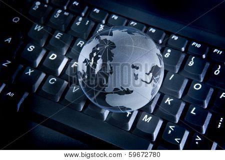 Globe On The Computer Keyboard