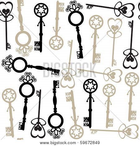 Old Keys Seamless Pattern And Seamless Pattern In Swatch Menu
