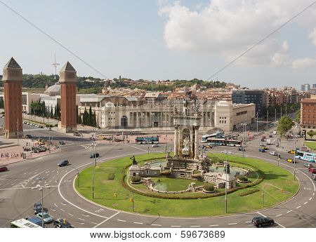 BARCELONA, SPAIN - August 23, 2012: View of the area of Spain in the afternoon poster