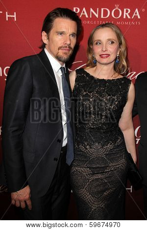 LOS ANGELES - FEB 10:  Ethan Hawke, Julie Delpy at the The Hollywood Reporter's Annual Nominees Night Party at Spago on February 10, 2014 in Beverly Hills, CA