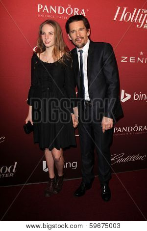 LOS ANGELES - FEB 10:  Maya Thurman-Hawke, Ethan Hawke at the The Hollywood Reporter's Annual Nominees Night Party at Spago on February 10, 2014 in Beverly Hills, CA