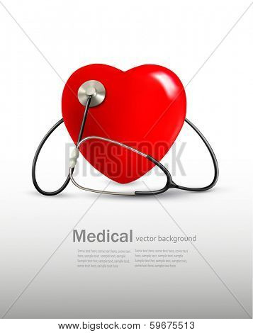 Background with a stethoscope and a heart. Vector.
