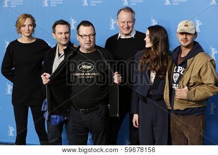 BERLIN - FEB 9: Shia LaBeouf, Stellan Skarsgard, Christian Slater, Stacy Martin, Lars von Trier, Uma Thurman, 'Nymphomaniac Volume I' photocall - 64th Berlinale on February 9, 2014 in Berlin, Germany
