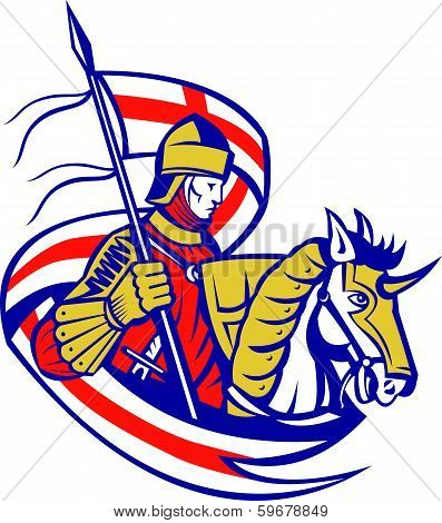 English Knight England Flag Shield Horse Retro