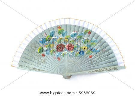 Chinese Fan Isolated On White Background