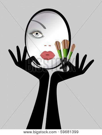 Reflection of female face in Mirror Makeup brushes gloves