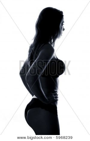 Beautiful Female Body In Black Lingerie Isolated
