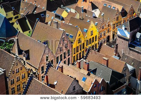 Detail Of Old Rooftops And Colorufl Houses In Historical Town