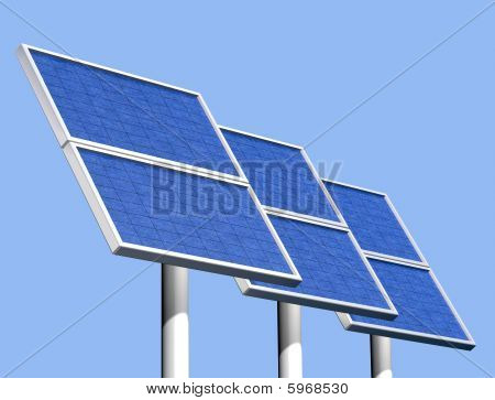 Group Of Solar Panels On A Clear Sunny Day