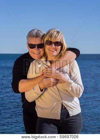 Romantic Mature Attractive Couple At The Seaside