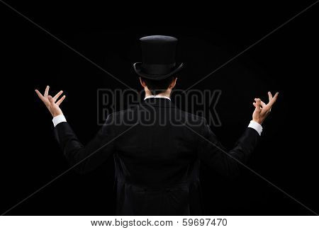 magic, performance, circus, show concept - magician in top hat showing trick from the back