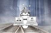 Video chat doodle against cityscape projection over railway tracks poster