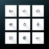 Audio icon set - vector illustration poster