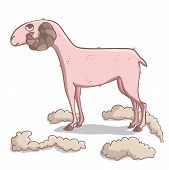Comic funny serious trimmed sheep. Vector illustration. poster