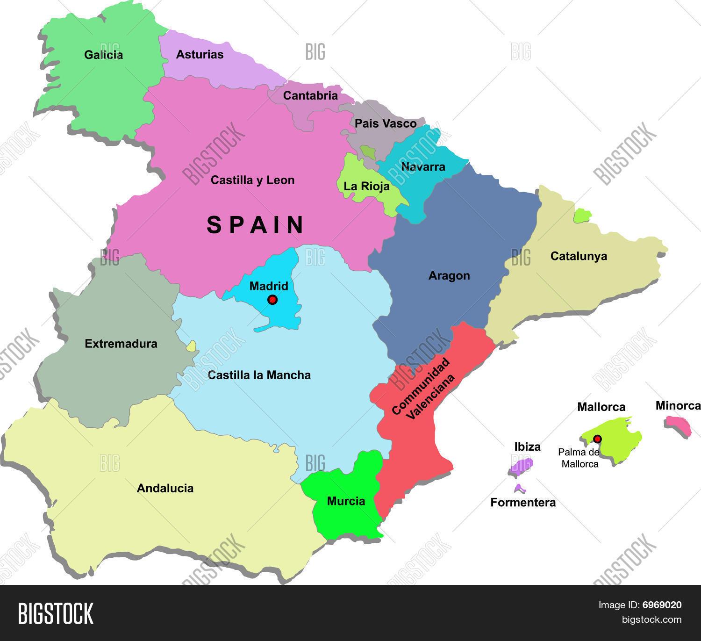Big Map Of Spain.Spain Map Vector Photo Free Trial Bigstock