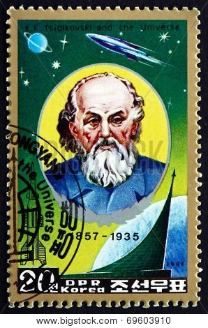 Postage Stamp North Korea 1984 Tsiolkovsky, Russian Rocket Scien