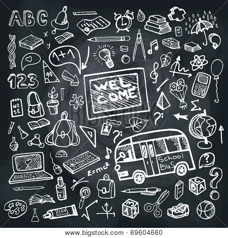 Back to School Supplies Sketchy chalkboard. Square Doodles