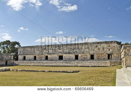 Long building, built by the Mayas.