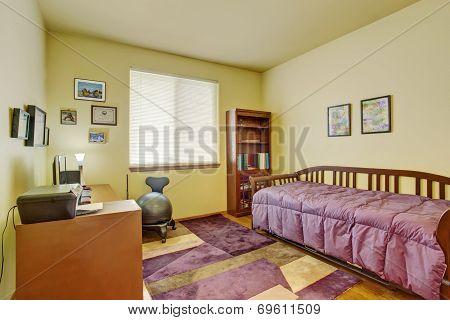 Bright Bedroom Interior With Desk