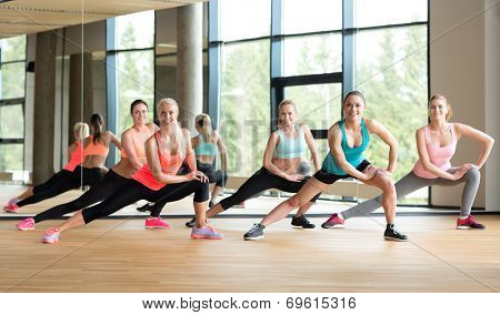 fitness, sport, training, gym and lifestyle concept - group of women working out in gym
