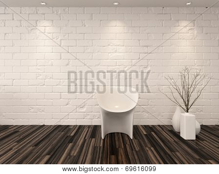 Single modern white chair against a whitewashed brick wall with vase ornaments and recessed overhead down lights illuminating a hardwood parquet floor