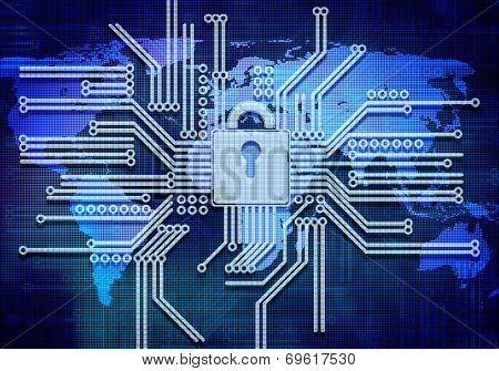 Conceptual image of micro circuit. Security concept poster