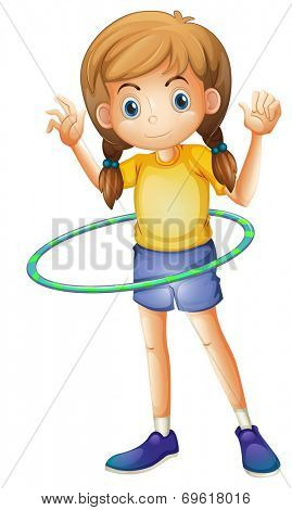 Illustration of a young girl playing with the hulahoop on a white background