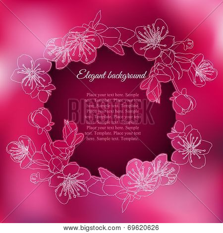 Elegant frame with branch of apricot flowers