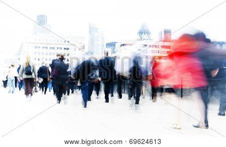 People rushing to work.