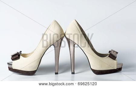 Woman Beige Shoes On White
