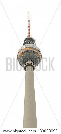 TV tower from Berlin. Isolated on white with path.