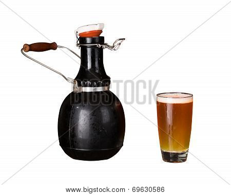 Isolated Cutout Of Growler And Glass Of Beer