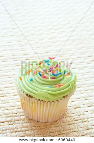 Vanilla Cupcake With Green Lime Icing