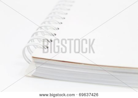 Closeup Spiral Notebook Isolated On White Background
