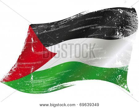 Palestinian grunge flag.jpg. A waving flag of Palestine with a grunge texture